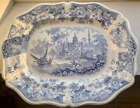 Rare Elijah Jones V & A Museum Asiatic Beauties Large Platter Blue Transferware
