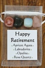 Happy Retirement Crystal Gift Set Rose Quartz Labradorite Apricot Agate Opalite