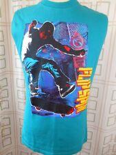 Vintage 80s Blue Green Cotton Aust Skater Flip Spin Tanktop Sleeveless T-shirt S
