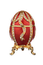 Russian Faberge Egg / Trinket Jewel Box with Bow-knot 3'' (7.5cm) red