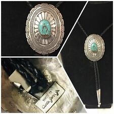 Beautiful Navajo Curtis John Sterling Silver Detailed Turquoise Concho Bolo Tie