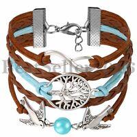 Infinity Love Charm Tree of life Wide Leather Men Women Friendship Bracelet