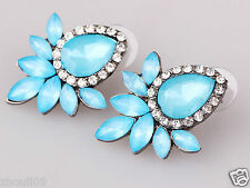 long Ear Studs hoop earrings 954 New Lady Woman Elegant clear crystal Rhinestone