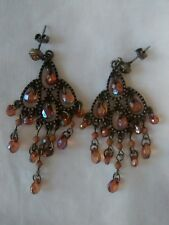 "VINTAGE 00'S New Look Brass/Amber Coloured ""Antique Style"" Drop Earrings VGC"