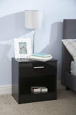 BRAND NEW OTTAWA BLACK DOOR & BLACK FRAME BEDSIDE TABLE/CABINET GLOSS