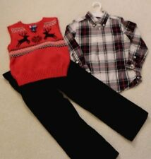 Chaps/Crazy 8 Christmas Holiday Complete Set Pants Shirt Vest 5/5T EUC