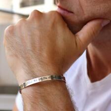 Men's Silver Thin Cuff Bracelet, Custom Mens Bracelet, Jewish Hebrew Bracelet