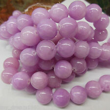 Genuine 8MM Purple Jade Jadeite Round Gemstone Loose Beads 15'' Strand