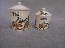 2 Vintage ceramic porcelain TEA SPICES CANISTERS marked  : THE & EPICES