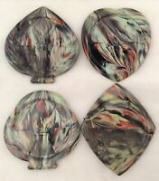 Set 4 MCM Melamine Coasters Marbled Playing Card Suits Club Spade Heart Diamond