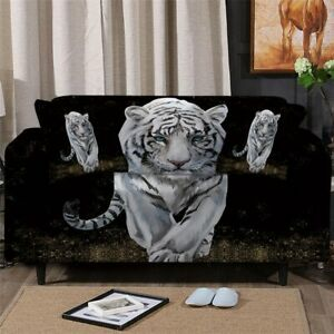 White Tiger Animal Sofa Couch Chair Cushion Stretch Cover Slipcover Set Decor