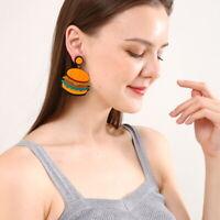 Women Drop Dangle Stud Earring Acrylic Resin Hamburger Earrings Jewelry Gift
