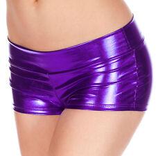 Womens Wet Look Hot Pants Metallic Shiny Shorts Party Disco Tight Dance Clubwear