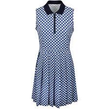 NWT Tory Sport Womens Printed Pleated Golf Dress Surf Blue Baseline Plaid Medium