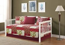 Fancy Linen 5pc Day Bed Cover Floral Beige Red Green Burgundy Reversible New