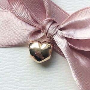 Genuine Pandora 14ct Gold Puffed Solid Heart Charm 750119