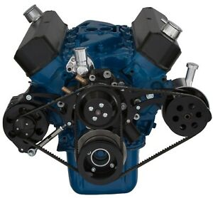 Black Ford 289 302 V-Belt Kit Billet Aluminum Power Steering Pulley SBF