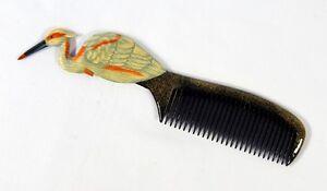 Hand Painted White Heron Bird Comb U00H