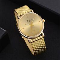 LVPAI Elegant Luxury Lady Watch Gold Polished Mesh Band Quartz Casual Wristwatch