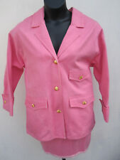 CHANEL DENIM Oversized JACKET SKIRT Suit PINK French Cuff Sz 36 90's