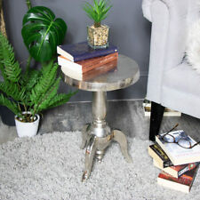 Small silver round side occasional pedestal table shabby country vintage chic
