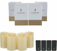 Luminara 5 inch Flameless Candles with Remotes & Boxes - Set of Four Ivory