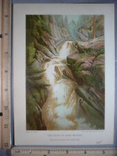 Rare Antique Orig VTG 1885 Voice Of Many Waters Scotland Color Litho Art Print
