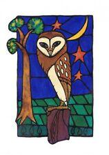 El lugar de descanso (OWL) única Vitral Arte En Blanco tarjeta de saludos