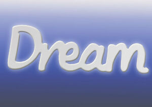"""""""Dream"""" Inspirational Home/Kitchen Word in white from Splosh Gifts 36x12cm"""