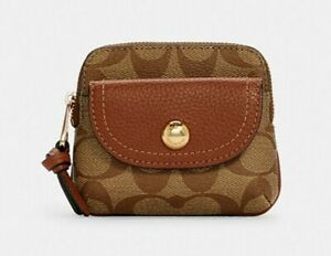 Coach Pennie Card Case In Signature Canvas Gold/ Khaki Redwood New with tags