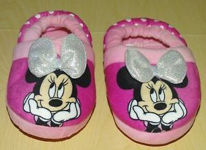 Disney Minnie Mouse Pink House Shoes Slippers Silver Bow Polka Dots Toddler 5-6