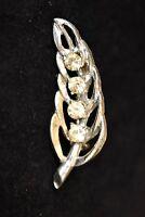 Vintage Rhinestone Leaf Brooch Coat Sweater Lapel Tie Pin Mid Century Jewelry