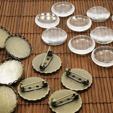 10sets Antique Bronze Transparent Domed Glass Cabochon Cover Iron Brooch Making