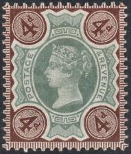 1887 JUBILEE SG205a 4d GREEN & DEEP PURPLE BROWN MINT HINGED K33(2)