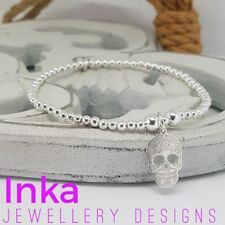 Inka 925 Sterling Silver beaded Stacking Bracelet with a Sugar Skull charm
