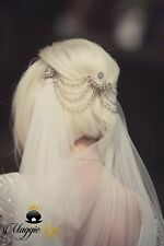 Vintage Bridal head piece, Art Deco, up or down hairstyle back hair drapes chain