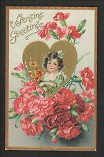 Valentine's Day Postcard Tuck 11 Floral Missives Carnations Embossed Vintage