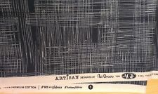 """New-100% Cotton-Remnant-Artizan- Navy/Teal Abstract Check Design 44"""" x 6 1/2"""""""
