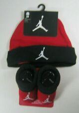Nike Air Jordan Baby Boys Girls 0-6 Months Booties Hat Bib Set Red Black