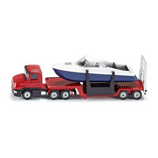 Siku 1613 Scania Low Loader with Boat Red Model Car (Blister Pack) NEW !°