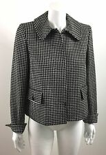 Ellen Tracy Black & White Embroidered Check Jacket Wool Blend Size M