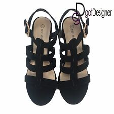 NEW Womens Platform Pump Strappy Wedge Gladiator Sandals Open Toe High Heel Shoe