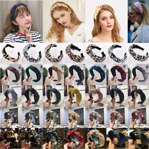 Women's Tie Headband Hairband Pearl Knot Wide Fabric Hair Band Hoop Accessories
