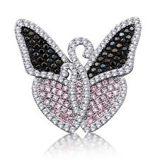 Pink and Black Butterfly Pendant 26x30 mm 925 Silver Jewelry with Cubic Zirconia