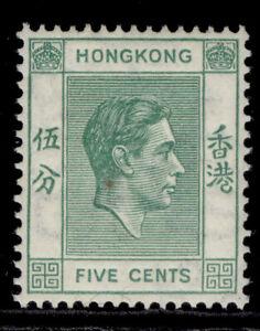 HONG KONG GVI SG143a, 5c green, M MINT.
