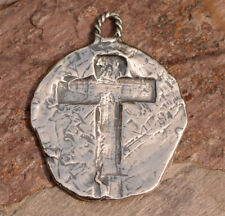 Rustic Artisan Cross Pendant or Big Charm // Sterling Silver Cross // ONE R-776