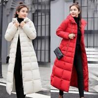 Womens Long Hooded Down Warm Jacket Winter Puffer Fur Collar Parka Slim Fit Coat