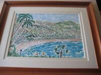 "BEAUTIFUL SEASCAPE ORIGINAL WATERCOLOR BY K. BYERS W/NICE WOOD FRAME, 30"" X 22"""