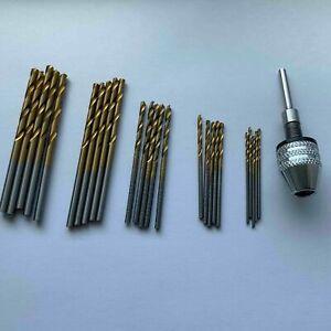 Dremel Mini Drill Kit - Chuck And Bits HSS Titanium 1mm 1.5mm 2mm 2.5mm 3mm