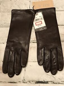 """FAB! Vintage Fownes Red-Brown Leather w Silk Lining 10"""" L Gloves Size 6.5 NEW!"""